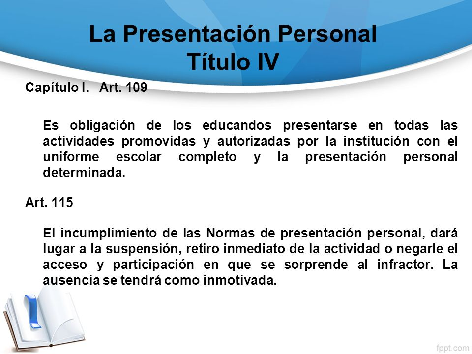 La Presentación Personal Título IV