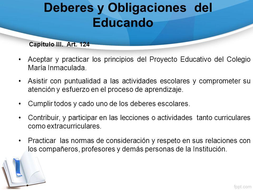 Deberes y Obligaciones del Educando