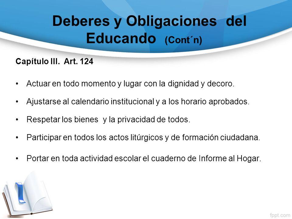 Deberes y Obligaciones del Educando (Cont´n)