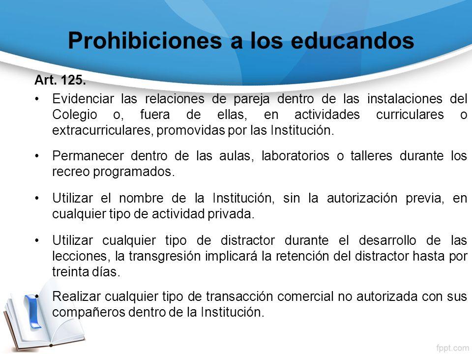 Prohibiciones a los educandos