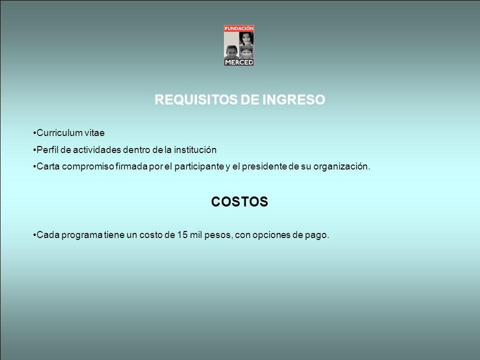 REQUISITOS DE INGRESO COSTOS