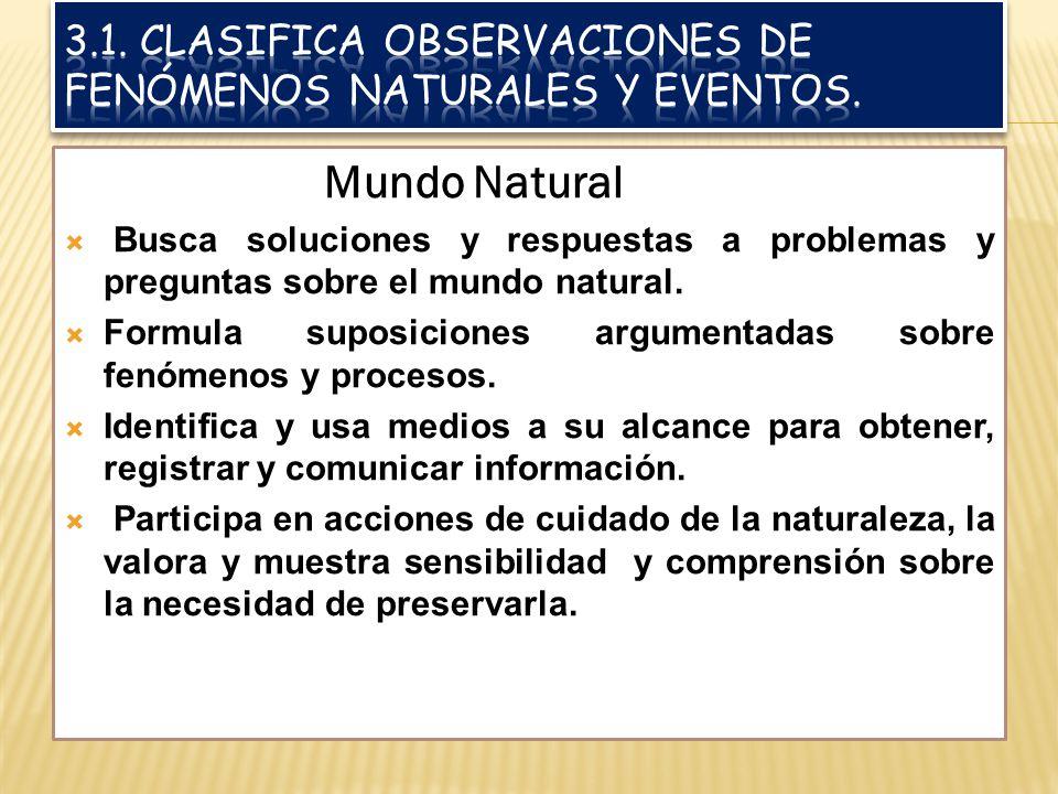 3.1. Clasifica observaciones de fenómenos naturales y eventos.
