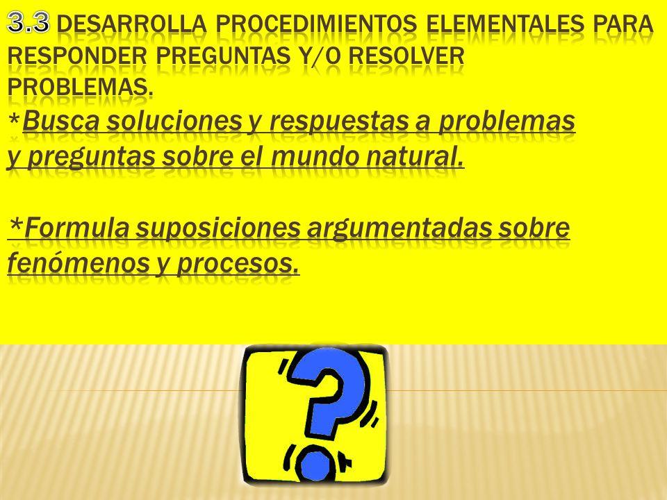 3.3 Desarrolla procedimientos elementales para responder preguntas y/o resolver problemas.