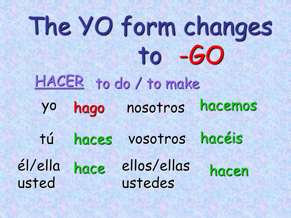 The YO form changes to -GO HACER to do / to make yo hacemos hago