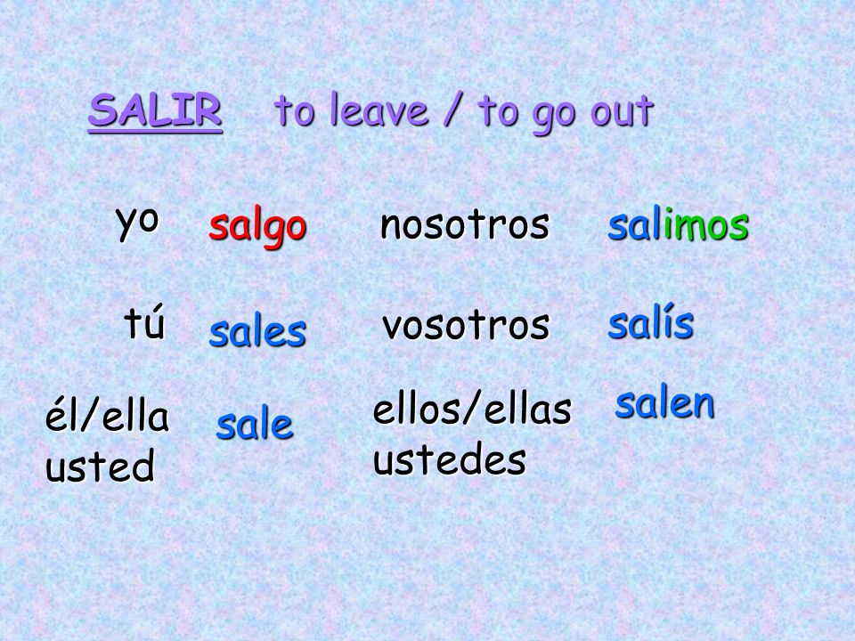 SALIR to leave / to go out. yo. salgo. nosotros. salimos. tú. vosotros. salís. sales. salen.