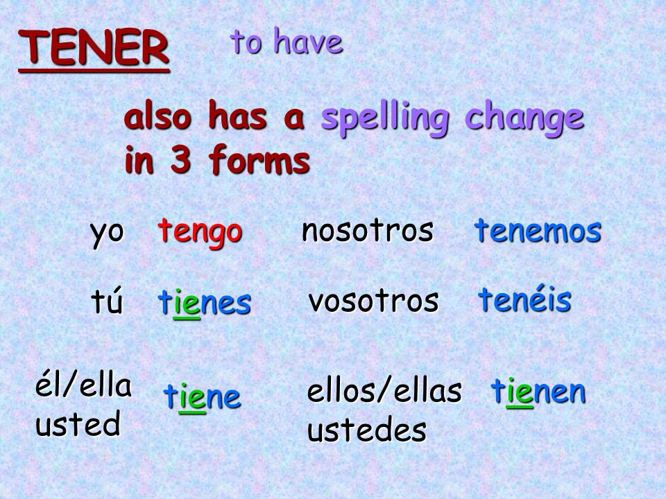 TENER also has a spelling change in 3 forms to have yo tengo nosotros