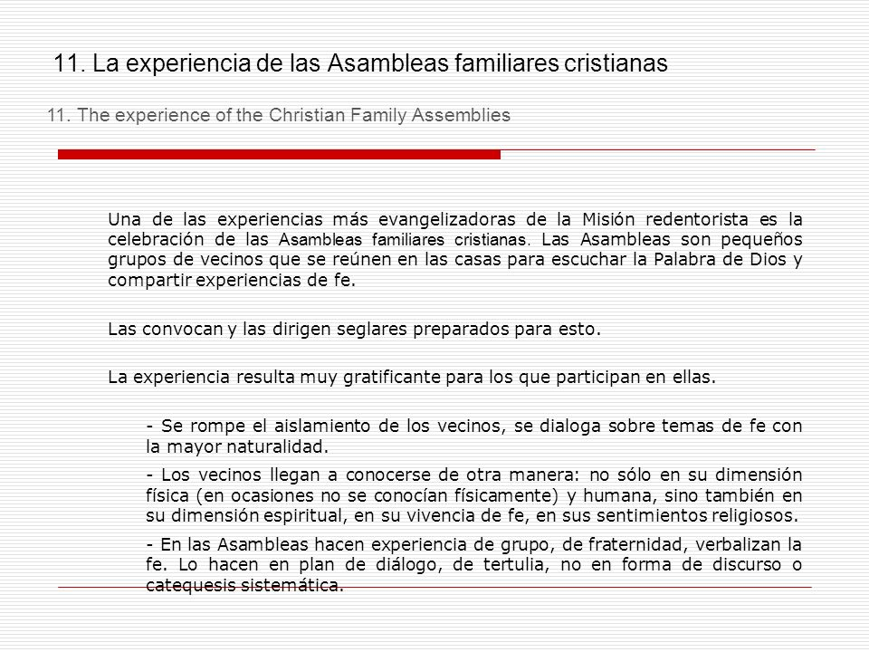 11. La experiencia de las Asambleas familiares cristianas