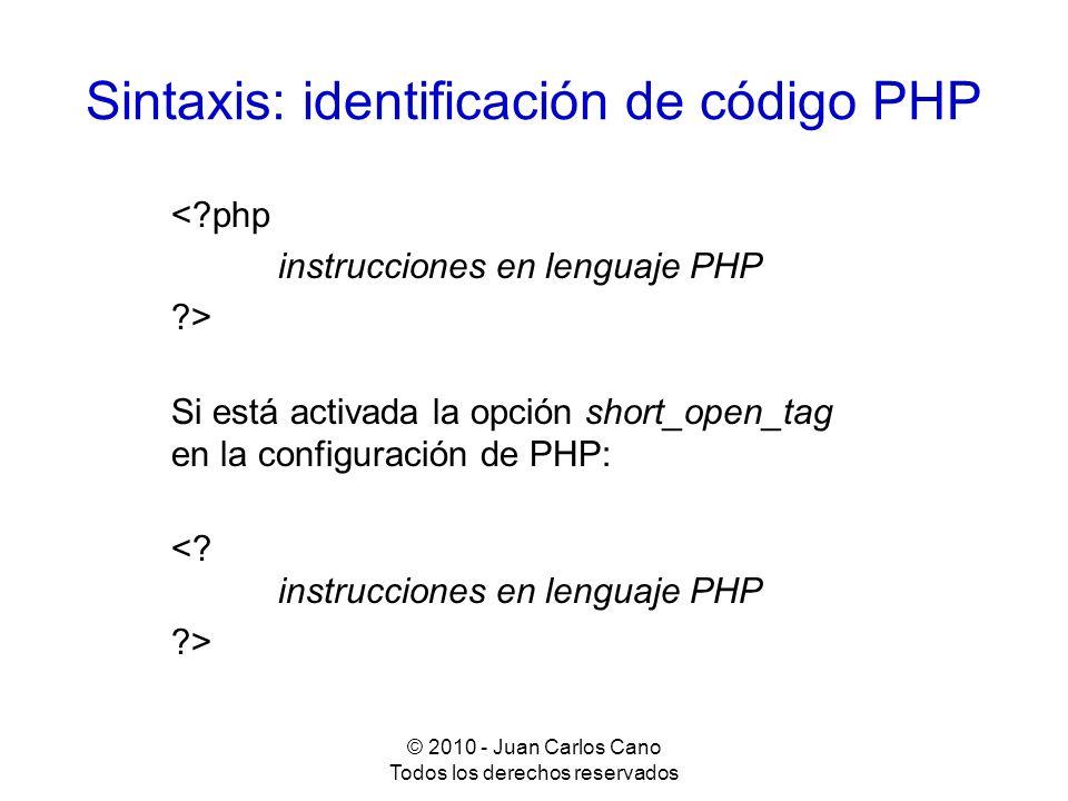 Sintaxis: identificación de código PHP
