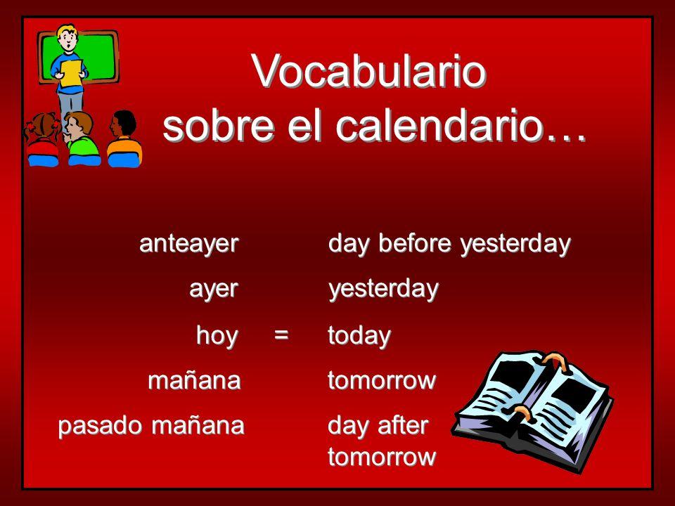 Vocabulario sobre el calendario… anteayer day before yesterday ayer