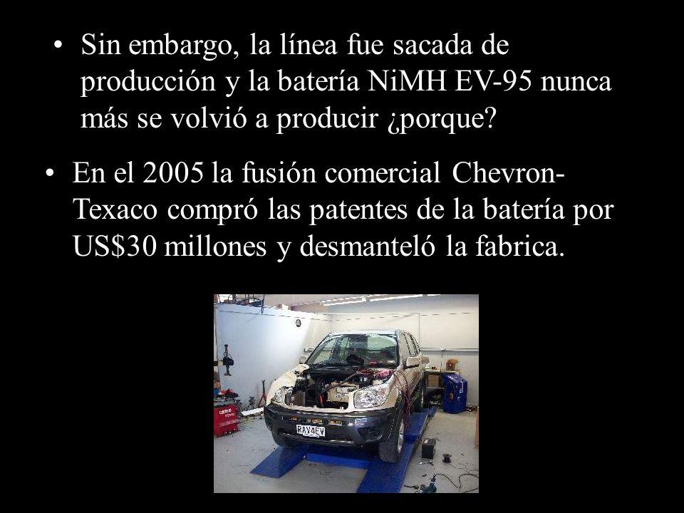 Sin embargo, la línea fue sacada de producción y la batería NiMH EV-95 nunca más se volvió a producir ¿porque