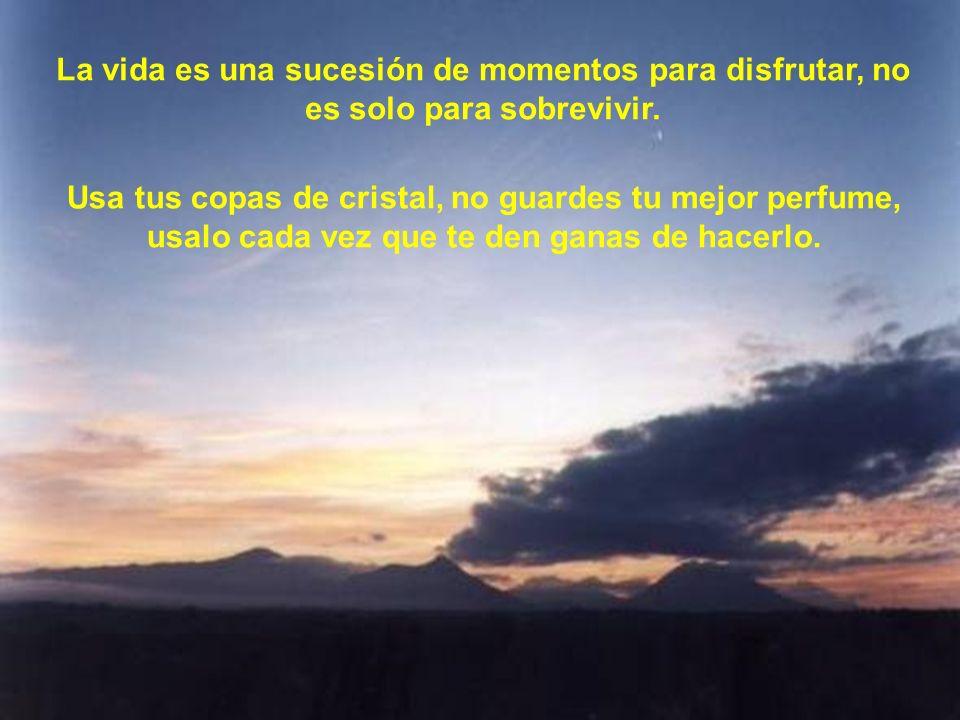 La vida es una sucesión de momentos para disfrutar, no es solo para sobrevivir.