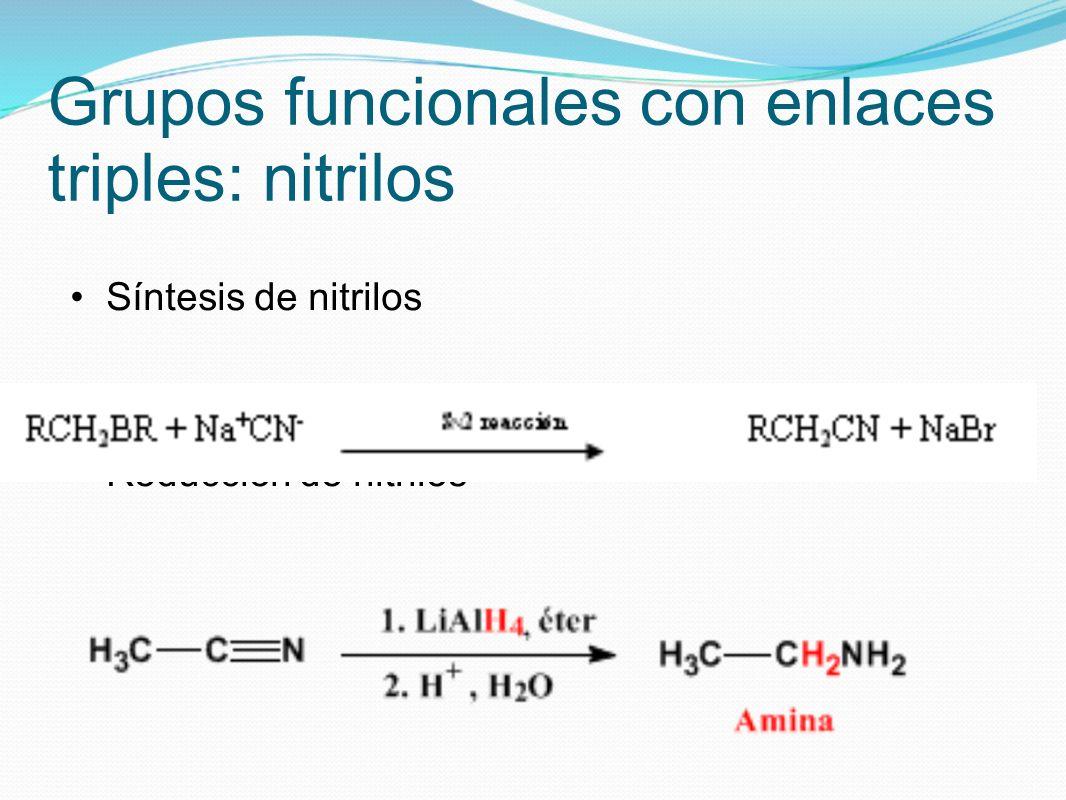 Grupos funcionales con enlaces triples: nitrilos