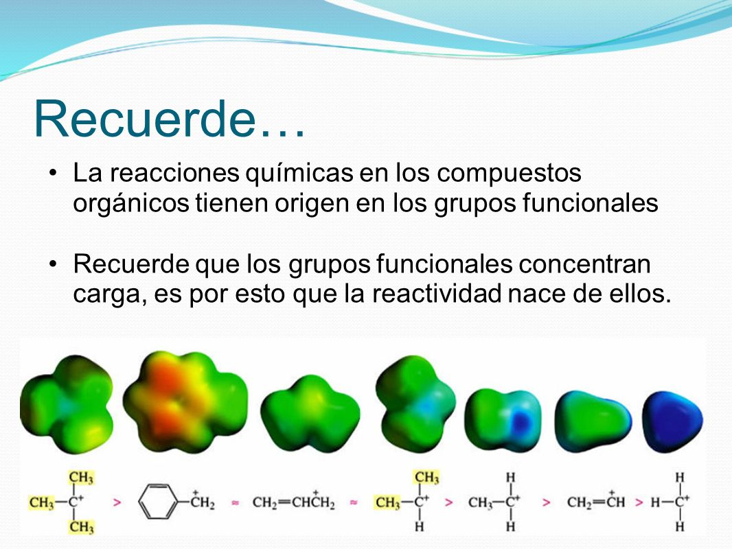 Recuerde…La reacciones químicas en los compuestos orgánicos tienen origen en los grupos funcionales.