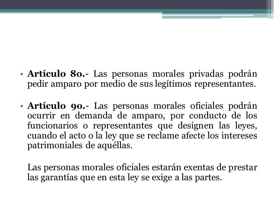 Artículo 8o.- Las personas morales privadas podrán pedir amparo por medio de sus legítimos representantes.
