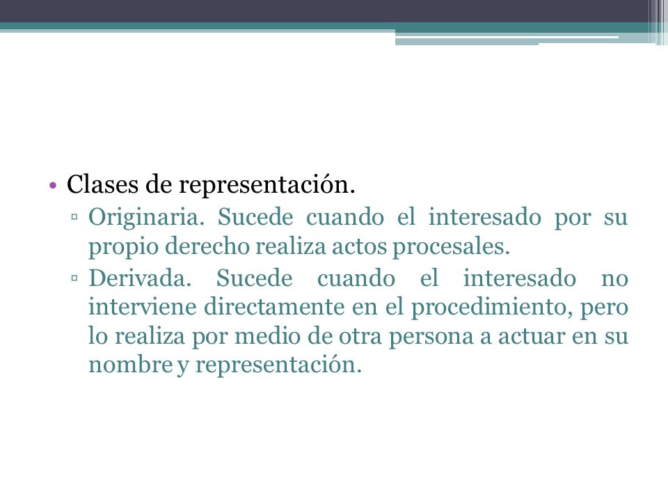 Clases de representación.