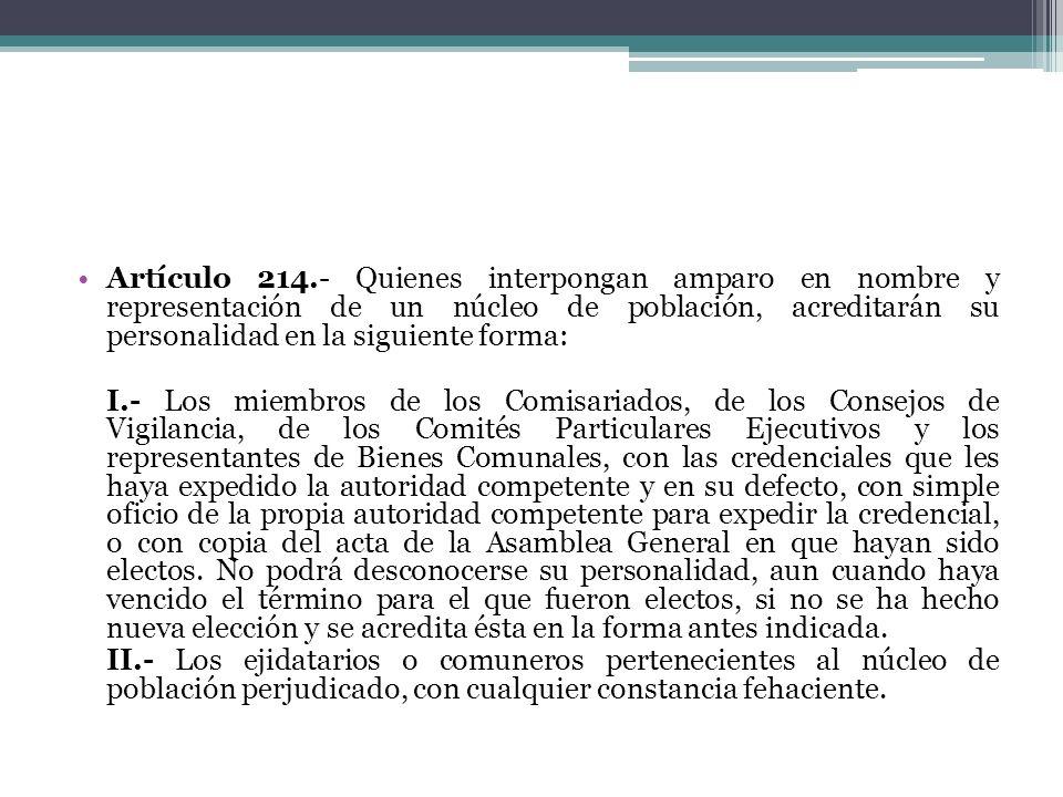 Artículo 214.- Quienes interpongan amparo en nombre y representación de un núcleo de población, acreditarán su personalidad en la siguiente forma: