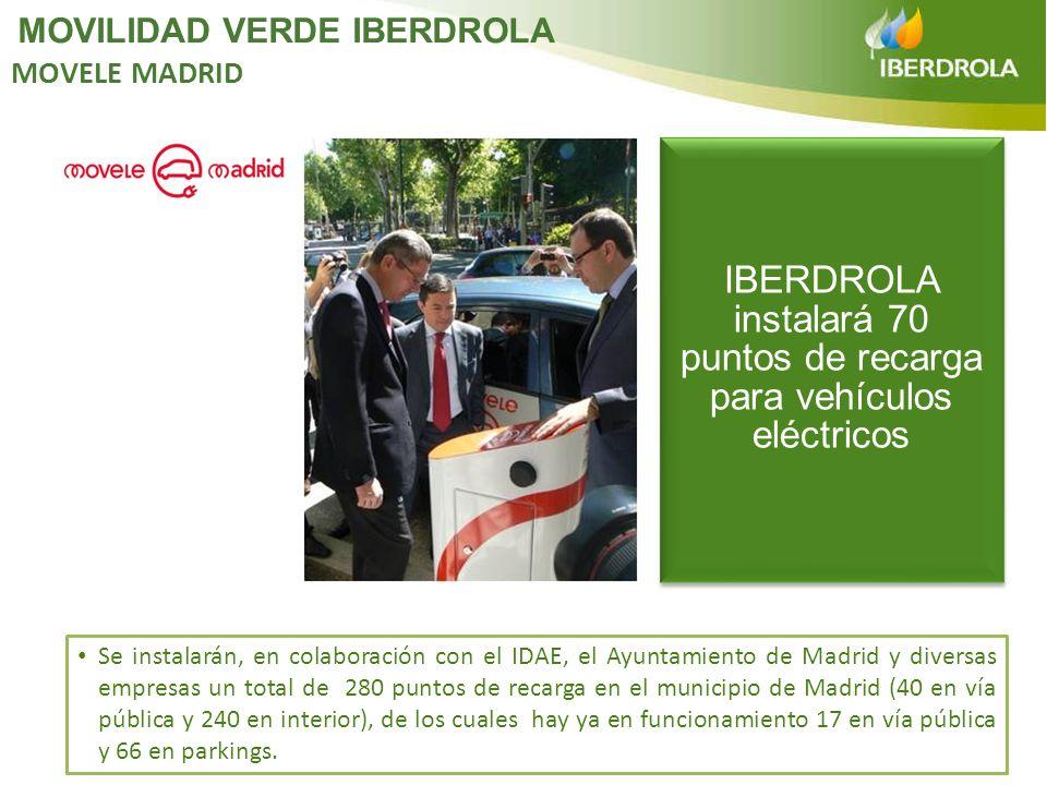 IBERDROLA instalará 70 puntos de recarga para vehículos eléctricos