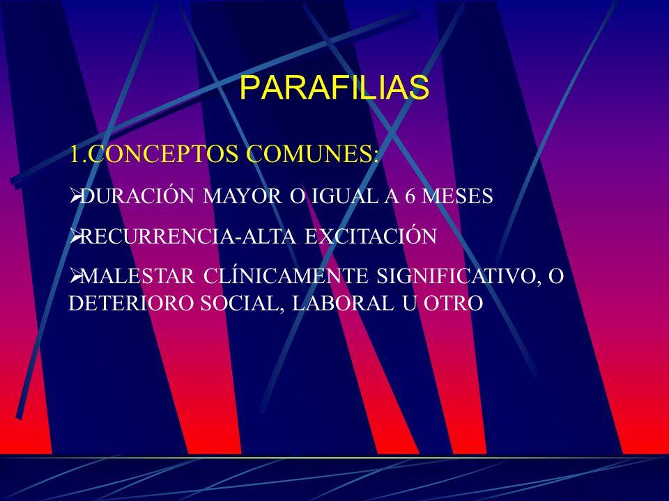 PARAFILIAS 1.CONCEPTOS COMUNES: DURACIÓN MAYOR O IGUAL A 6 MESES