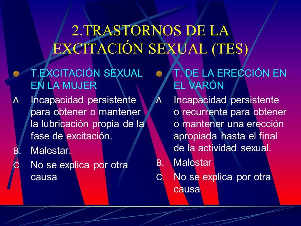 2.TRASTORNOS DE LA EXCITACIÓN SEXUAL (TES)
