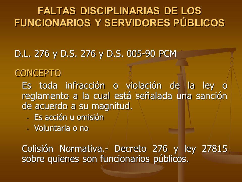 FALTAS DISCIPLINARIAS DE LOS FUNCIONARIOS Y SERVIDORES PÚBLICOS