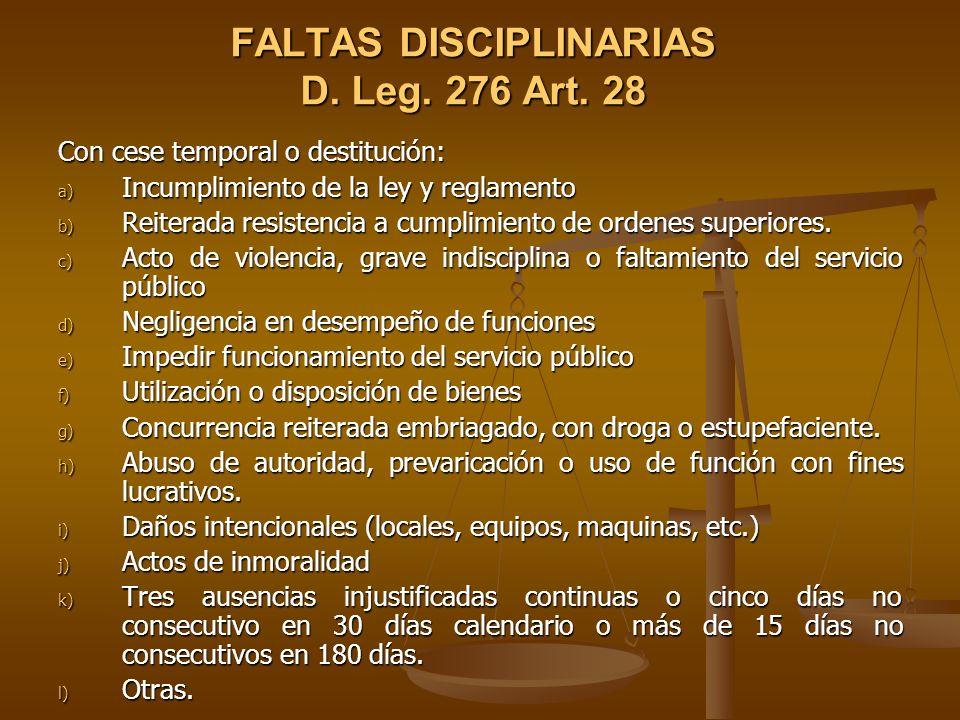 FALTAS DISCIPLINARIAS D. Leg. 276 Art. 28
