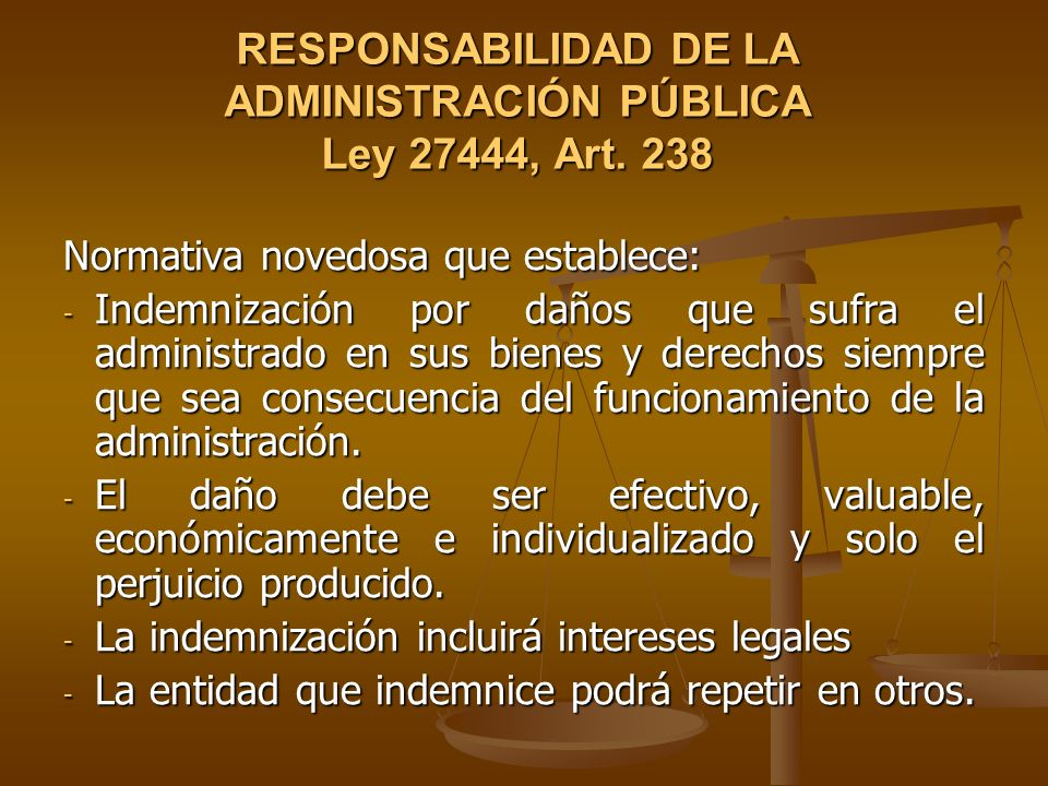 RESPONSABILIDAD DE LA ADMINISTRACIÓN PÚBLICA Ley 27444, Art. 238