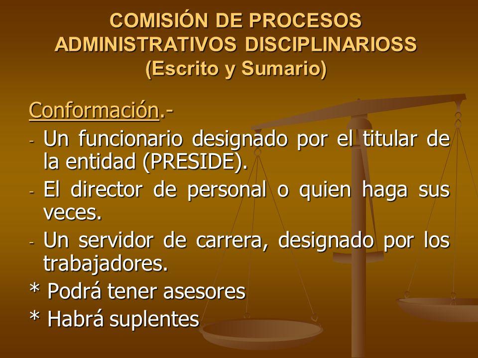 Un funcionario designado por el titular de la entidad (PRESIDE).