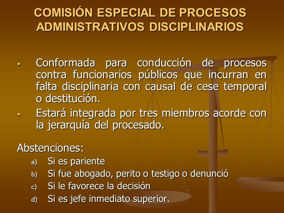 COMISIÓN ESPECIAL DE PROCESOS ADMINISTRATIVOS DISCIPLINARIOS