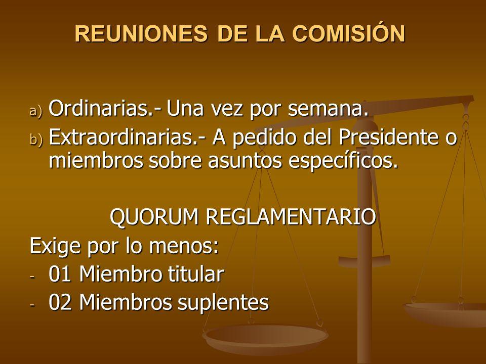 REUNIONES DE LA COMISIÓN