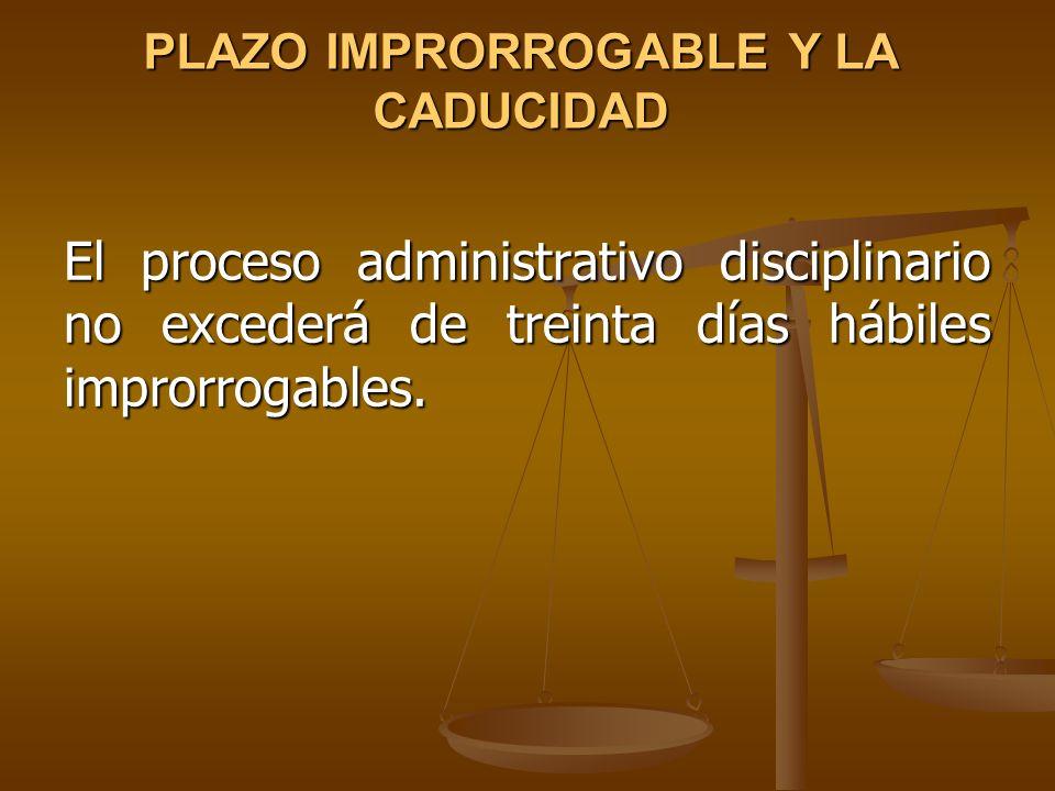 PLAZO IMPRORROGABLE Y LA CADUCIDAD