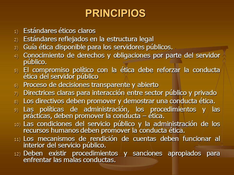 PRINCIPIOS Estándares éticos claros