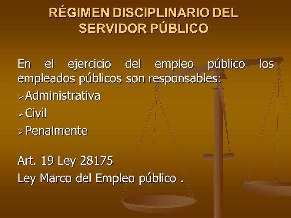 RÉGIMEN DISCIPLINARIO DEL SERVIDOR PÚBLICO