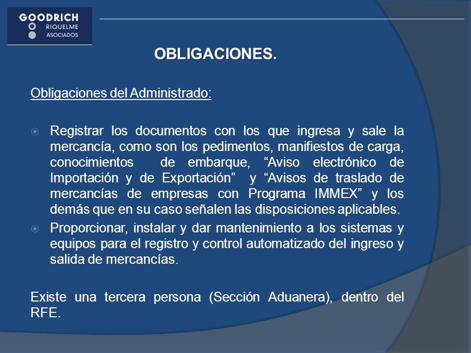 OBLIGACIONES. Obligaciones del Administrado: