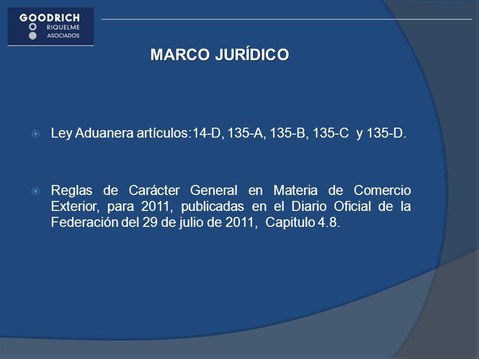 MARCO JURÍDICO Ley Aduanera artículos:14-D, 135-A, 135-B, 135-C y 135-D.