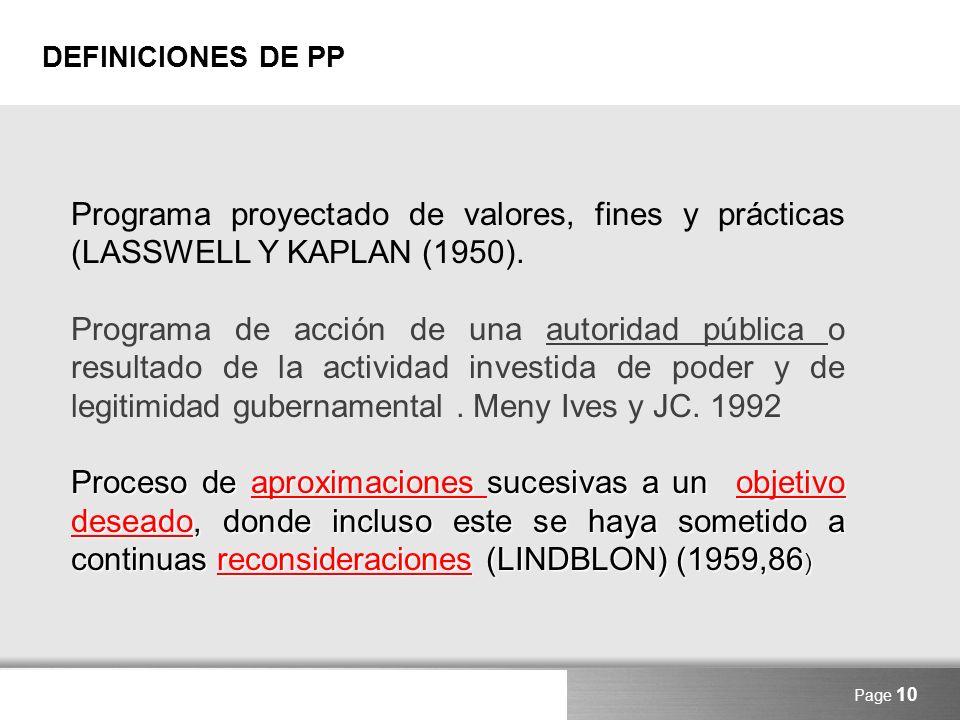 DEFINICIONES DE PP Programa proyectado de valores, fines y prácticas (LASSWELL Y KAPLAN (1950).