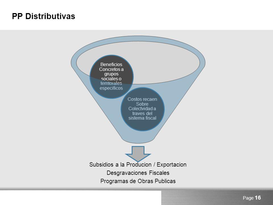 PP Distributivas Subsidios a la Producion / Exportacion