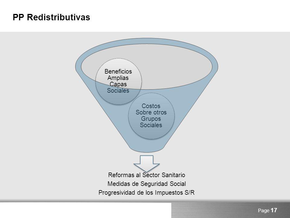 PP Redistributivas Beneficios Amplias Capas Sociales
