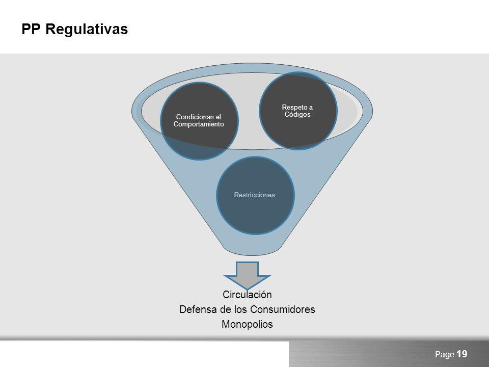PP Regulativas Circulación Defensa de los Consumidores Monopolios