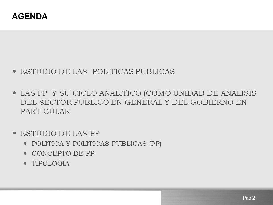AGENDA ESTUDIO DE LAS POLITICAS PUBLICAS