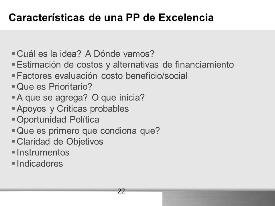 Características de una PP de Excelencia