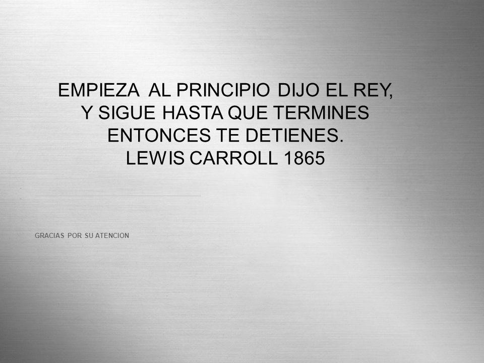 EMPIEZA AL PRINCIPIO DIJO EL REY, Y SIGUE HASTA QUE TERMINES ENTONCES TE DETIENES.