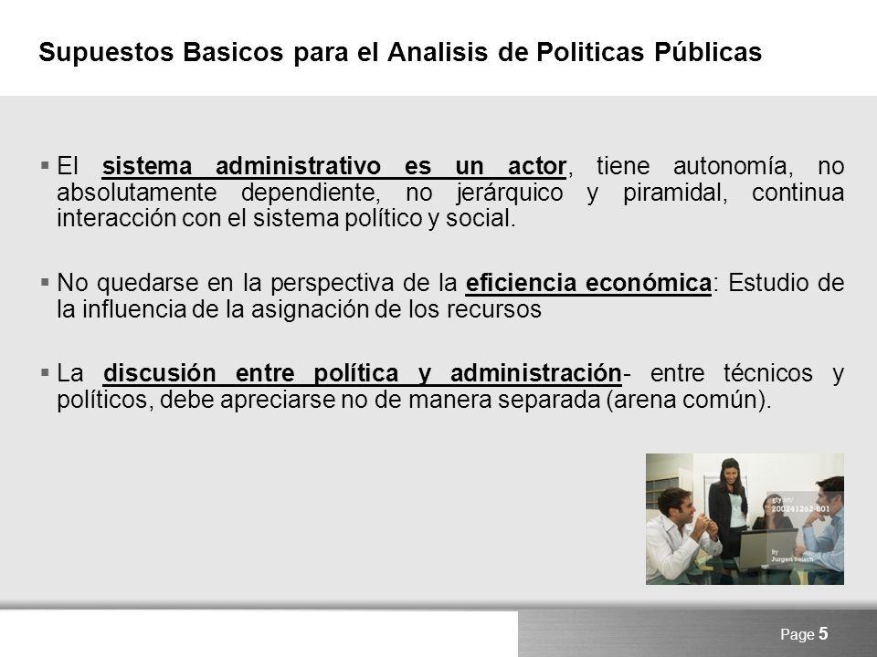 Supuestos Basicos para el Analisis de Politicas Públicas