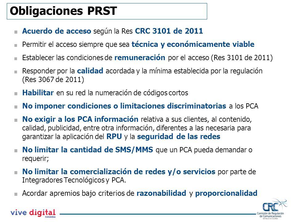 Obligaciones PRST Acuerdo de acceso según la Res CRC 3101 de 2011