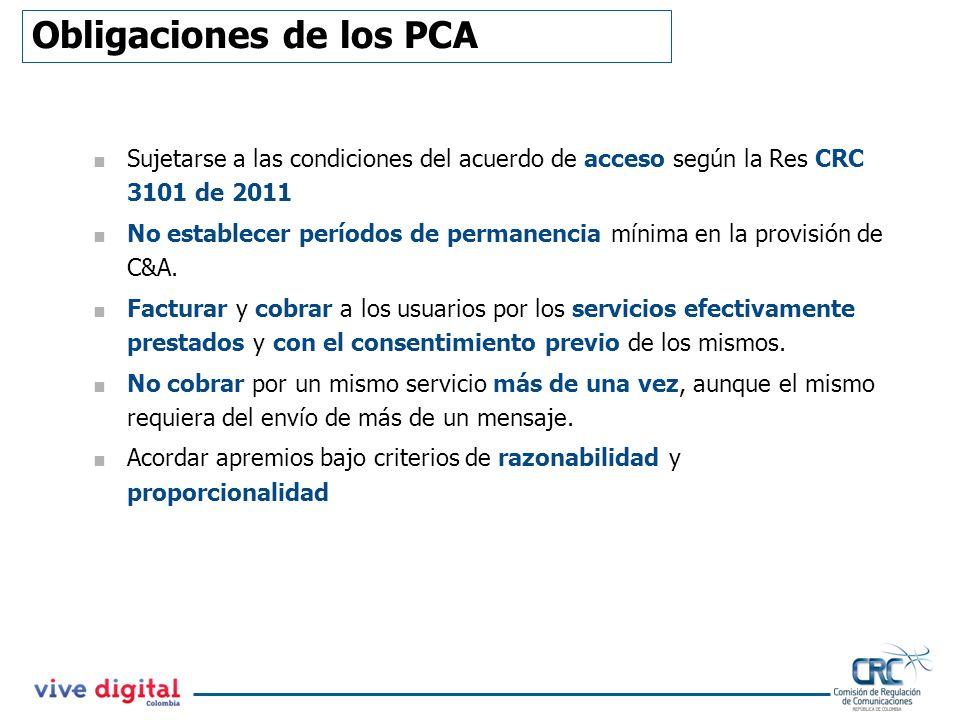 Obligaciones de los PCA