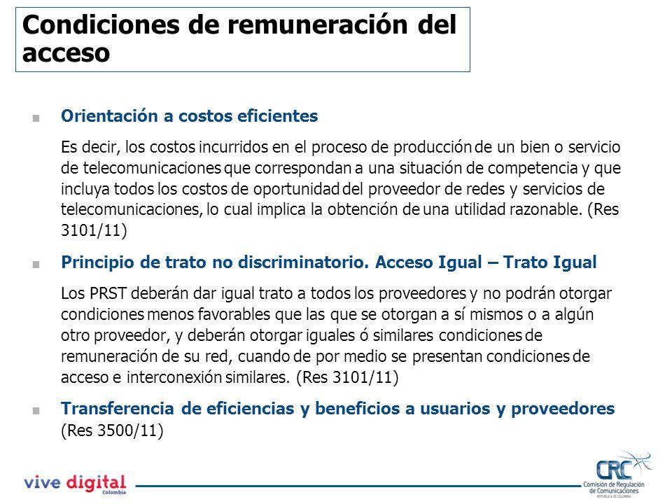 Condiciones de remuneración del acceso
