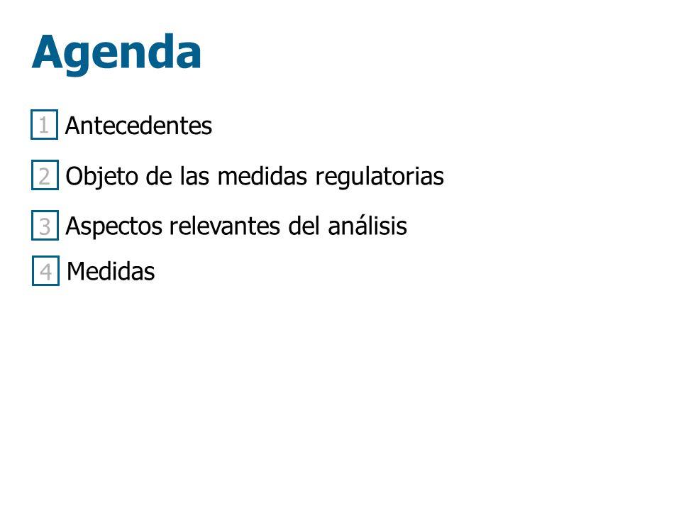 Agenda Antecedentes Objeto de las medidas regulatorias