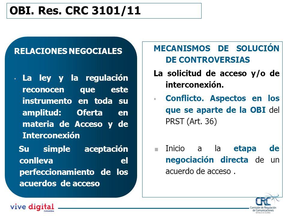 OBI. Res. CRC 3101/11 RELACIONES NEGOCIALES