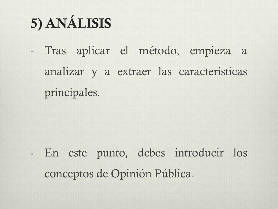 5) ANÁLISIS Tras aplicar el método, empieza a analizar y a extraer las características principales.