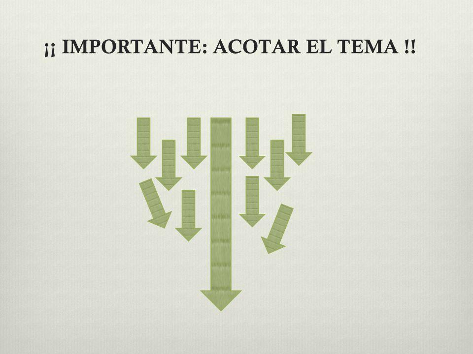 ¡¡ IMPORTANTE: ACOTAR EL TEMA !!
