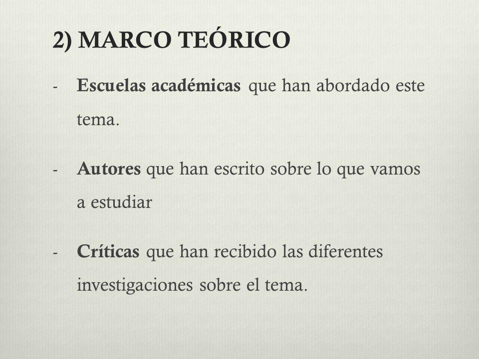 2) MARCO TEÓRICO Escuelas académicas que han abordado este tema.